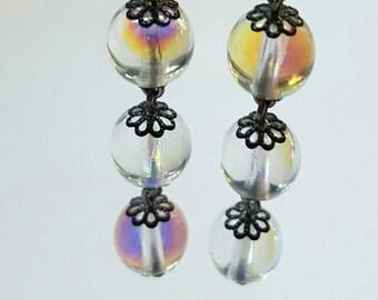 Clear AB Czech Glass and Gunmetal Earrings