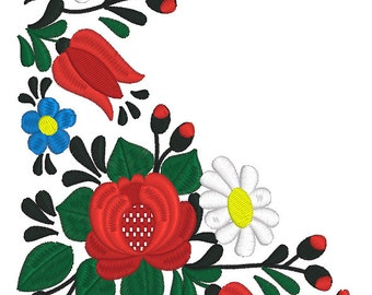 Machine Embroidery Design Hungarian folk art (2 sizes)