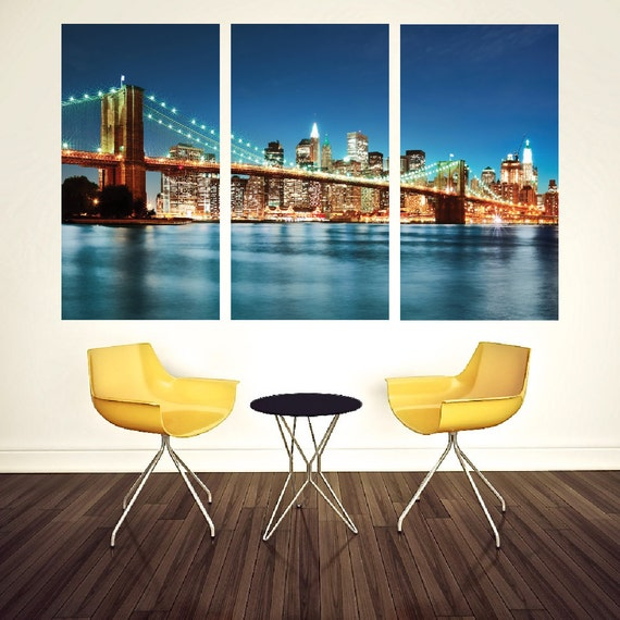 New york city skyline wall mural cityscape wall decal new for Cityscape murals photo wall mural