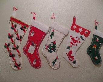 5 Vintage 1950's Felt Christmas Stockings Appliqued with Glitter, Bells, Bottle Brush Trees & More! So Sweet!