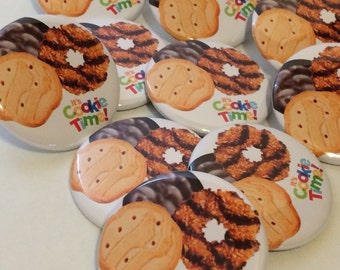 Girl Scout Cookies PINBACK BUTTONS its cookie time sales badges pins promotional thin mints samoas i sell cookies brownies