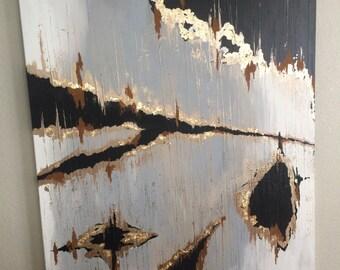 Acrylic neutral metallic painting canvas gilding