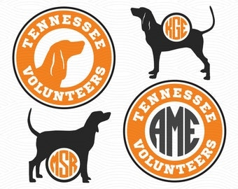 Tennessee Volunteers Smokey Monogram Frames (SVG, EPS, DXF, Studio3) Cut Files for Silhouette Studio, Cricut Design Space, Cutting Machines