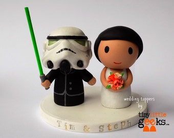 Wedding Cake Topper - Star Wars Stormtrooper and Bride cake topper