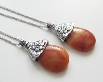 Boho carnelian necklace