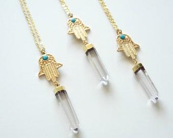 Kalila's hamsa hand necklace
