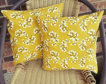Bright Yellow Flowers 14x14 Pillow Cover Set