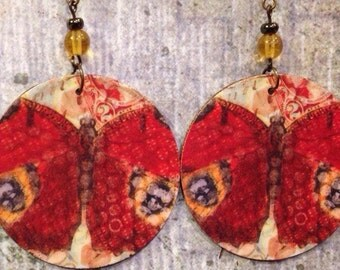 Red Butterfly Print Up-cycled Cardboard Box Earrings
