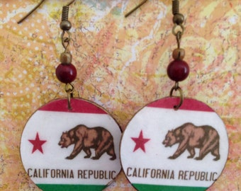 Up-cycled California Earrings, recycled cardboard box earrings