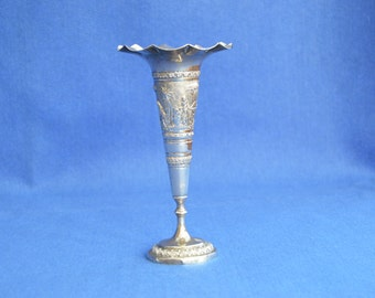 Antique Indian Silver Plate Trumpet Vase - Late 19th Century -Calcutta - Colonial - Flower Vase - Vintage