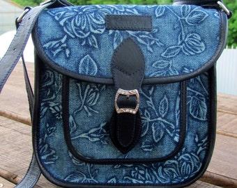 Bags & Purses  Handbags Crossbody bag Denim bag leather bag Shoulder blue bag messenger Fabric bag Denim purse Gift for her wife Women