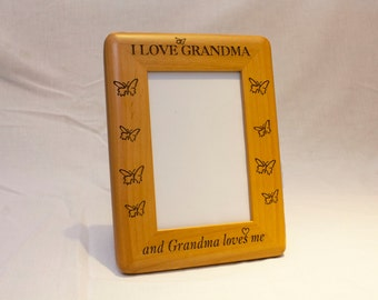 Personalized Photo Frame, Engraved Wood Frame Gift for grandma, Custom Frame, Personalized Birthday Gift, Custom Birthday Gift, 4x6 frame