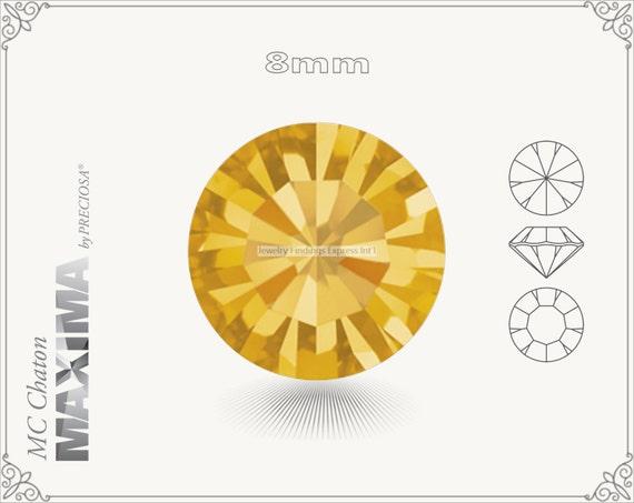 6 pc.+ SS39 (8mm) Preciosa MC Chaton MAXIMA - Topaz Color