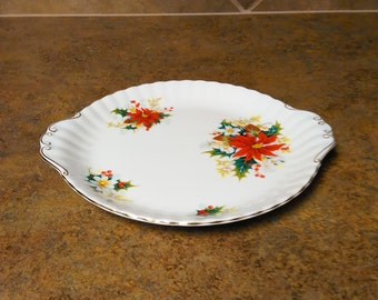 Vintage Royal Albert Bone China Poinsetta Two Handle Cake Plate