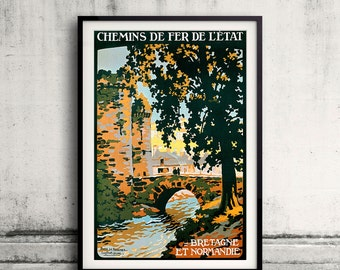 Bretagne et Normandie, French Travel Poster - Fine Art Glicée Poster Digital Wall art Illustration Print Decorative - SKU 0218