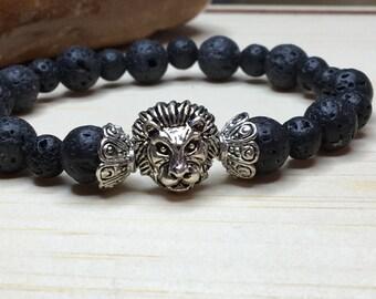 Dragon Veins Lava/Men Lion Bracelet/Black Lava Bracelet/Lion King Jewelry/Gift for Him/Lion Head King/Leo Symbole Bracelet/Astrological Lion