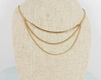 Gold Necklace, Multi Chain Jewellery, Industrial Style, Minimalist Necklace