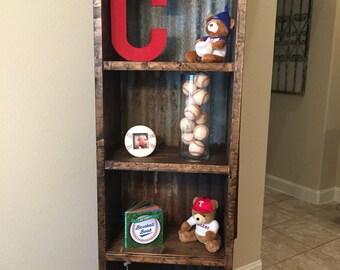 Rustic wood/corrugated metal bookshelf | CHOOSE YOUR STYLE | 6 foot