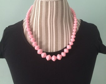 Vtg 60's pink bead necklace
