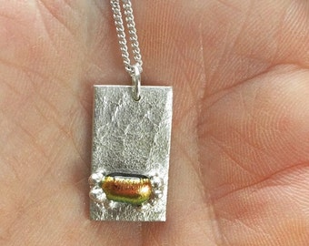 Fine silver rectangle with glass cabochon