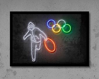 Olympics Wall Art Banksy Art Banksy Print Neon Art Gift for Him Neon Print Neon Wall Street Art Banksy Wall Décor Neon Sign Banksy Neon