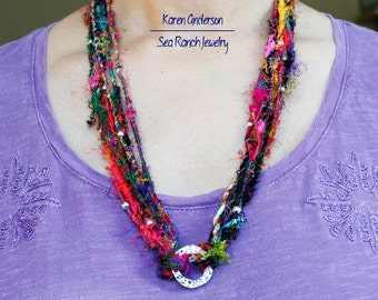 "The ""So Sari"" 28"" Beaded Silk Necklace   Multicolor Recycled Silk Sari Yarn   Tribal Jewelry   Eco-Friendly   Hippie Boho   ITEM 11C"