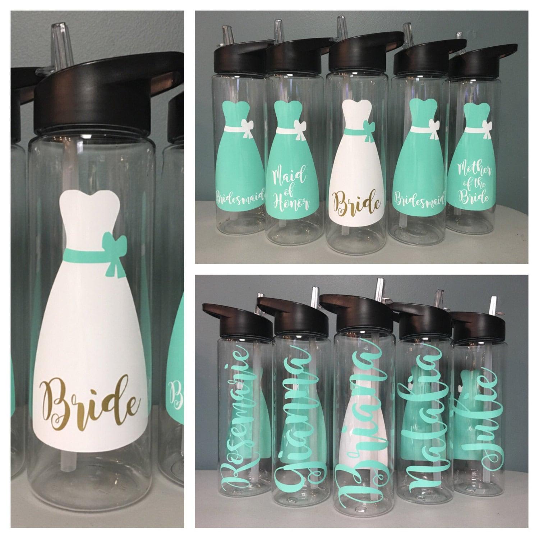 bridesmaid gift wedding water bottle bridal party bottles