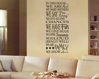 In This House Rules Subway Art Vinyl Wall Decal Sticker