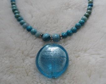 gemstone crystal lampwork beaded necklace