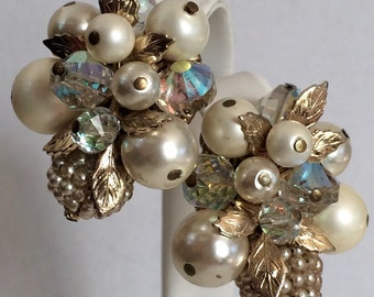 Vintage Vendome pearl & AB crystal cluster earrings wedding holiday gift