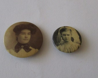 2 Vintage Antique 1900s Lady Photo Pinback Celluloid Button Pin