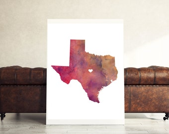 Marvelous Texas Wall Art, Personalized Texas Poster, Texas State Print Part 7