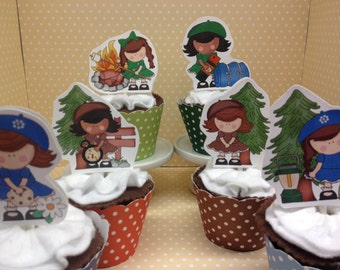 Girl Scouts, Daisies, Brownies Party Cupcake Topper Decorations - Set of 10