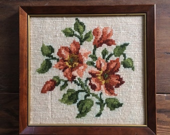 Vintage Floral Embroidery Wall Hanging