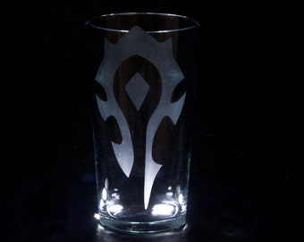 World of Warcraft Horde etched pint glass
