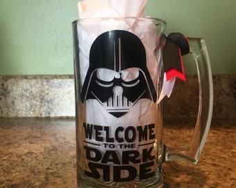Star Wars, Darth Vadar, Welcome to the Dark Side custom made Beer Mug  w/ Decorative Vinyl