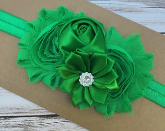 Girls headband - green headband - green baby hair band - girls hair band - shabby chic headband - hair band - headband - newborn headband