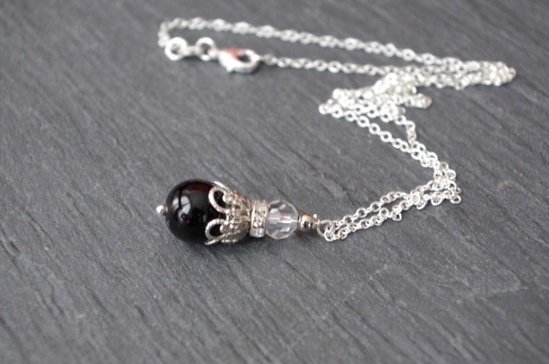 black pearl necklace wedding jewelry black bridesmaid gift. Black Bedroom Furniture Sets. Home Design Ideas