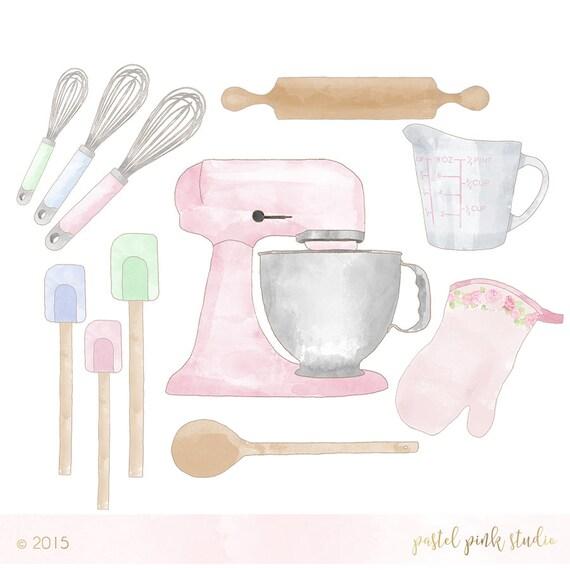Baking Set Clipart watercolor pastel vintage baker