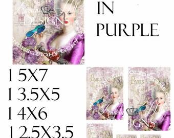 Marie in Purple 2 Sheet Digi Photo Set