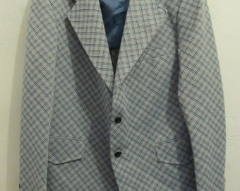 A Men's Vintage 70's,ARGYLE Checked DISCO era Double Knit Sportcoat.44R