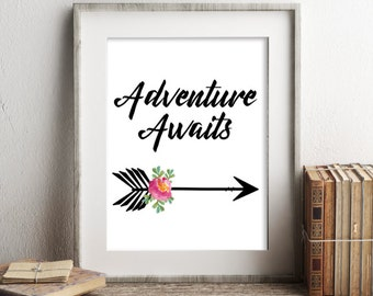 Adventure Awaits Print, Printable Art, Nursery Decor, Typography Printable