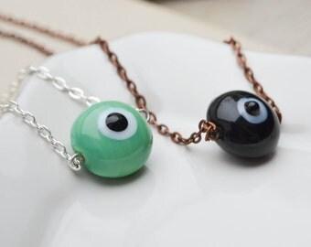 Ceramic necklace pendant eye - necklace evil eyes - grill-symbol necklace - necklace boho - boheme - Round necklace - pearl