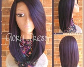 READY To SHIP// Kinky Straight Lace Front Wig, Natural Yaki Straight Wig, Blown Out Hairstyle, African American Wig //FUTURE (Free Shipping)