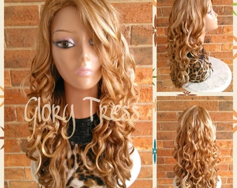 CLEARANCE // Long Curly Full Wig, Honey Blonde Wig,  Blonde Curly Wig // CARMEL