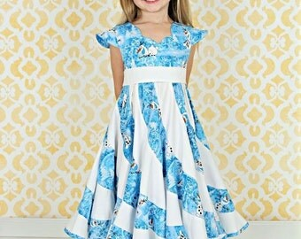 Disney Theme Frozen Olaf Custom Boutique Pageant Twirl Dress, Sizes 6m-10 girls, Handmade
