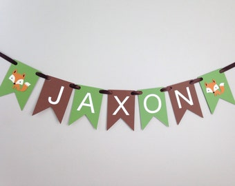 Custom Name Banner - Pennants - Birthday Party - Photography Prop - Nursery Room Banner - Party Decor - Woodland Decor