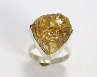 Natural Citrine 925 Sterling Silver Solid Silver Rough Nugged Hand Made precious Jewelry Ring Made By  Amore India R542