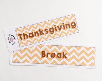 Thanksgiving Break Full Day Stickers    For Erin Condren Teacher Planners