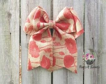 Poppy Burlap Bow - Burlap Bow - Red Bow - Summer Bow